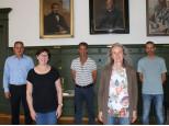 Dienstjubiläum. Bild von links: Bürgermeister Dirk Harscher, Marlies Asal, Stefan Blum, Jutta Hofmann, Angelo Turturro