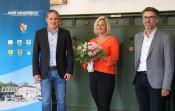von links: Bürgermeister Dirk Harscher, Kristina Moos, Fachbereichsleiter Jürgen Sänger